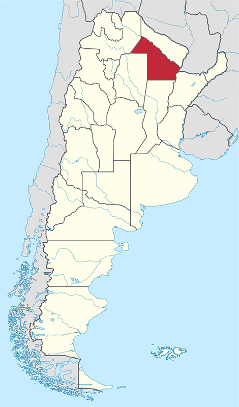 El mapa de Argentina mostrando Chaco